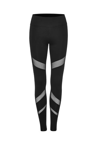 Black Mesh Panels Crop Legging