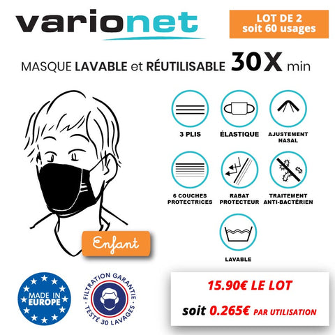 Masque lavable réutilisable ENFANT anti-projections Varionet - LOT DE 2