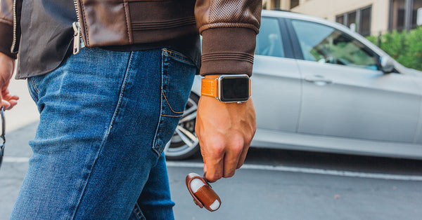 Leather Deployant in Desert Brown Apple Watch Band