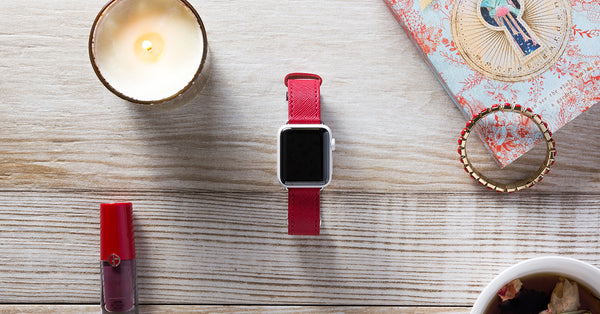 Saffiano Ruby Apple Watch Band