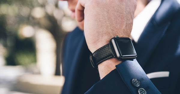 Monowear Perforated Leather Apple Watch Band in Black with Space Gray hardware