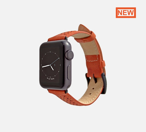 monowear apple watch perforated leather band Burnt Orange