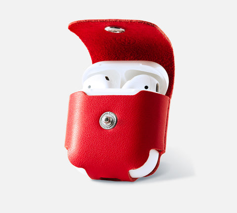 Leather AirPods Case - Apple Watch Monowear Red