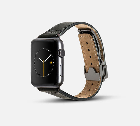 Leather Deployant Band - Apple Watch Monowear Black