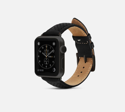 Perforated Leather Band - Apple Watch Monowear Black