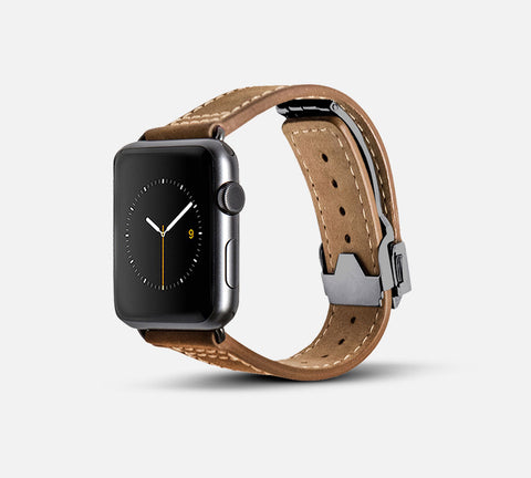 Leather Deployant Band - Apple Watch Monowear Brown