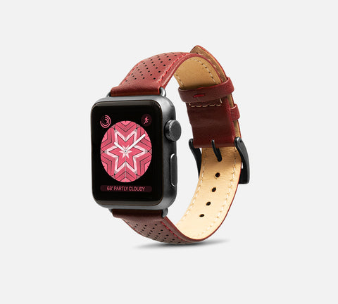 Perforated Leather Band - Apple Watch Monowear Burgundy