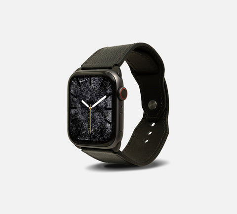Contemporary Leather Cuff - Apple Watch Monowear Noir