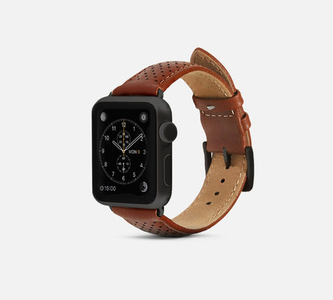 Perforated Leather Band - Apple Watch Monowear Chestnut