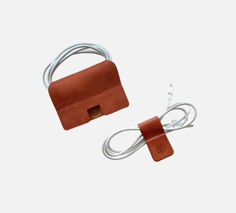 burnt orange Magnetic leather cord wrap set Burnt orange