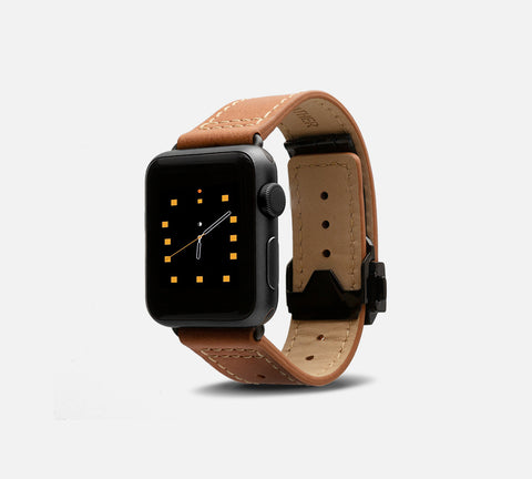 Leather Deployant Band - Apple Watch Monowear Desert
