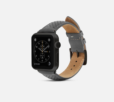 Perforated Leather Band Gray