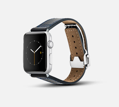 Leather Deployant Band - Apple Watch Monowear Navy