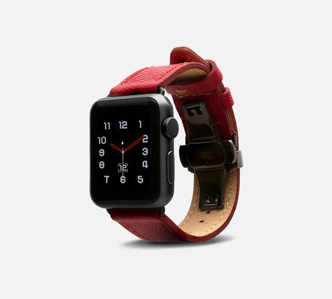Saffiano Leather Band - Apple Watch Monowear Ruby