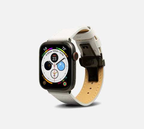 Saffiano Leather Band - Apple Watch Monowear Pearl