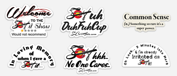 Salty 6 Pack! Hood Slap Stickers Durable Vinyl FREE shipping! 💵