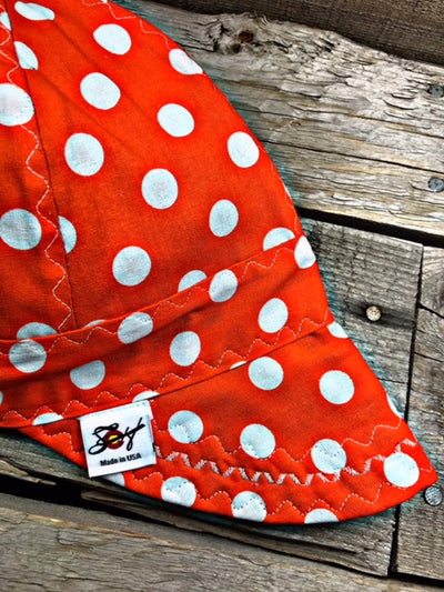 Safety Orange Polka Dot Size 7 1/8 Cotton Welding Cap