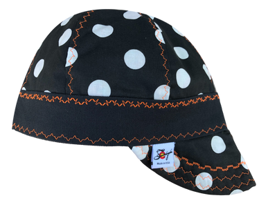 Black & White Polka Dot Bright Orange stitching Size 6 7/8 Lined Hybrid Welders Cap