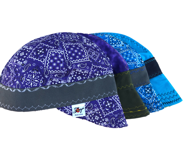 4 Pk. Paisley & Matching Blue & Purple Cotton Size 7 Hybrid Welders Cap