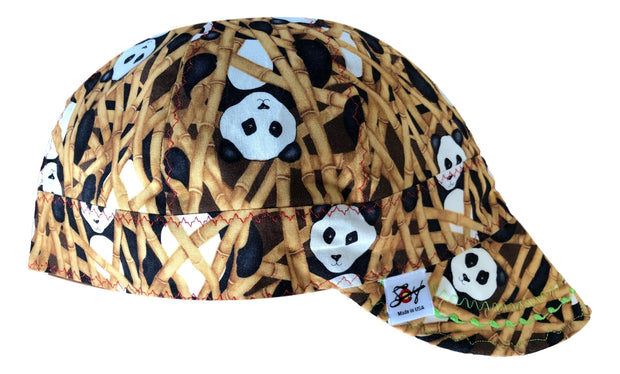 Bamboo & Pandas 100% Cotton Lined Size 8 Welders Cap