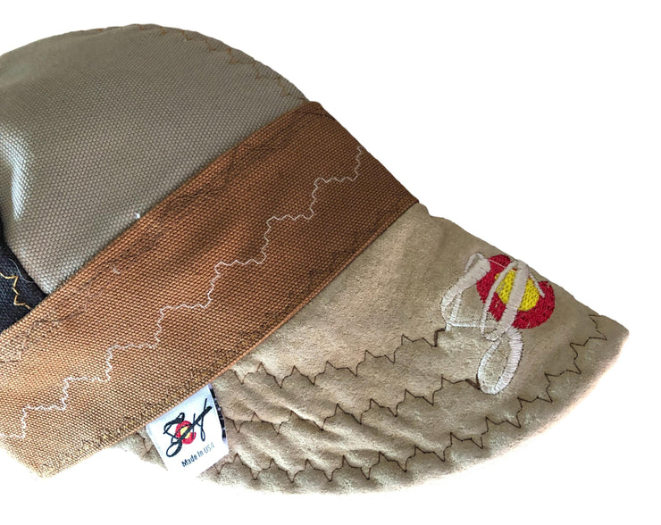 Triple Brown W/Embroidered Leather Bill Canvas Size 7 7/8 Prewashed Welders Cap