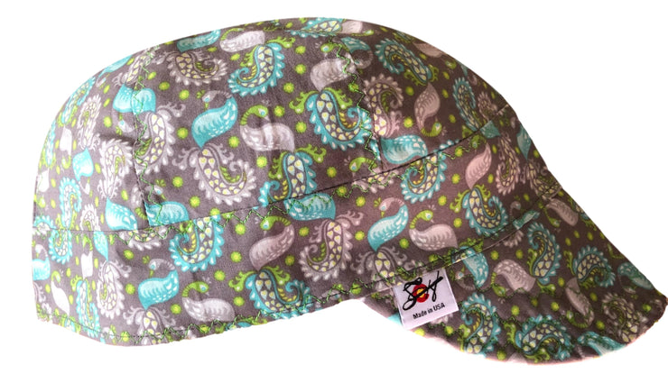 Teal/Grey/Green Paisley 100% Cotton UnLined Welders Cap