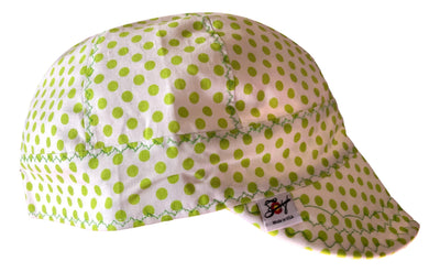 Bright Green Polka Dot 100% Cotton UnLined Welders Cap