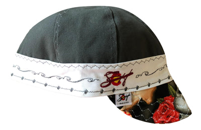 Grey Canvas W/Black Paisley Lining Embroiered 7 3/4 Embroidered Welders Cap