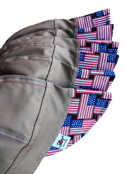 Khaki W/American Flag Bill #SoComfort Welders Cap W/FR Bill