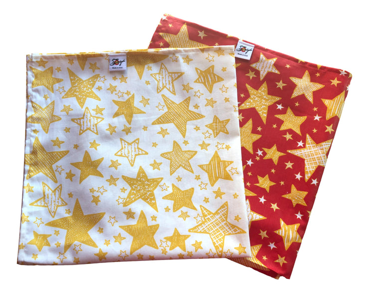 Red Or Creme Star Christmas Print 100% Cotton Bandanna