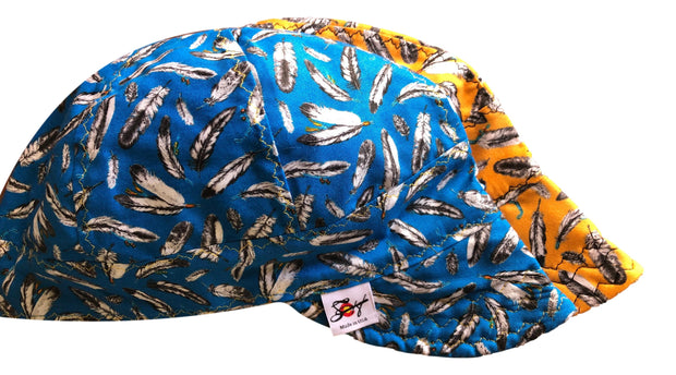 2 Pk. Feathers Print 100% Cotton Lined Welders Cap