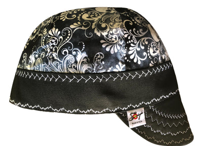 Skull Paisley Black and White Hybrid Welders Cap