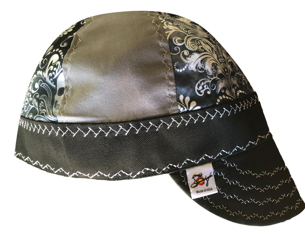 Skull Paisley Mixed Panel Black and White Hybrid Welders Cap