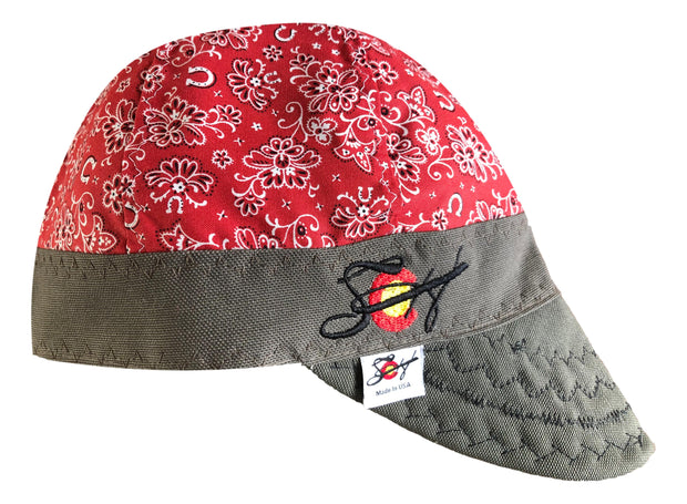 Red Paisley Embroidered Hybrid Welders Cap