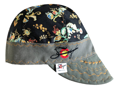 Black/Gold Metallic Ornate Embroidered Hybrid Welders Cap