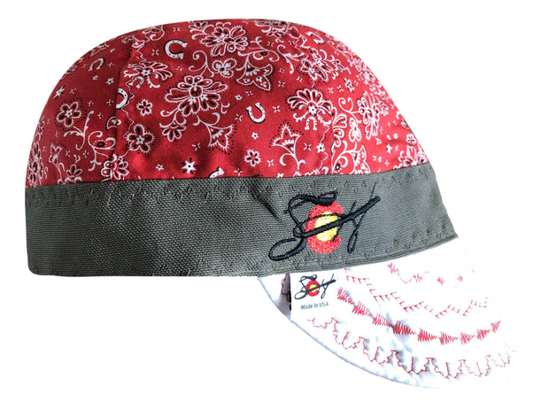 Red Paisley W/White Bill Embroidered Hybrid Welders Cap