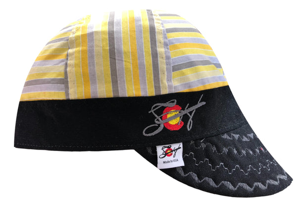 Grey & Yellow Striped Embroidered Hybrid Welders Cap