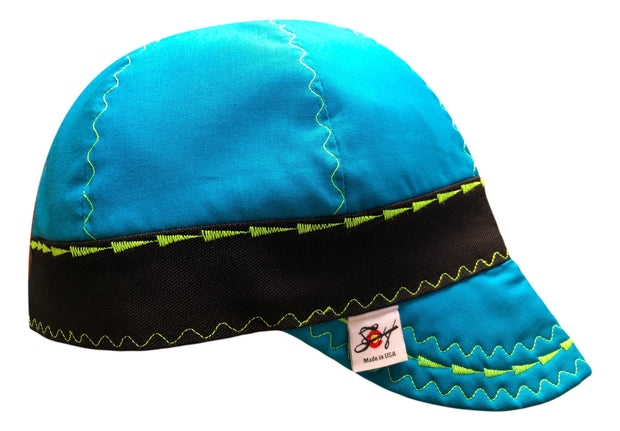 Bright Blue/Neon Stitching Size 7 3/8 Lined Hybrid Welders Cap