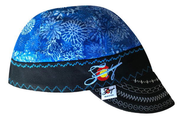 Killer Blue Size 7 3/8 Embroidered Hybrid Welders Cap