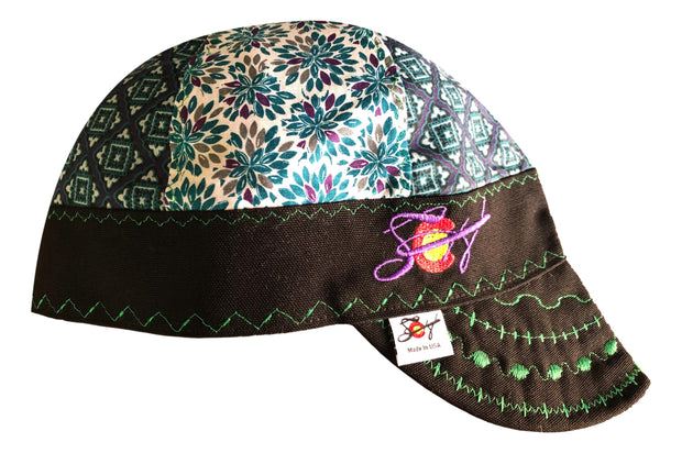 Purple/Teal Medallion Mixed Panel Embroidered Size 7 3/8 Hybrid Welding Cap