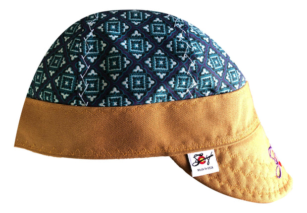Purple/Teal Medallion Embroidered Size 7 3/8 Hybrid Welding Cap