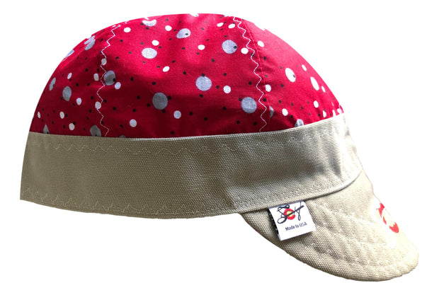Red Polka Dotted Embroidered Logo Hybrid Welding Cap