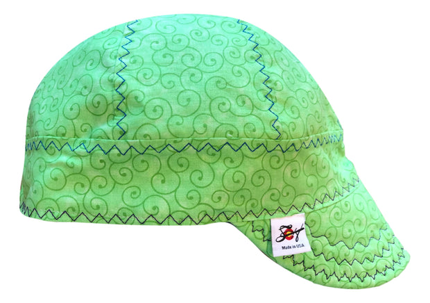 Green Swirly! Size 7 1/2 100% Cotton Lined Welding Cap
