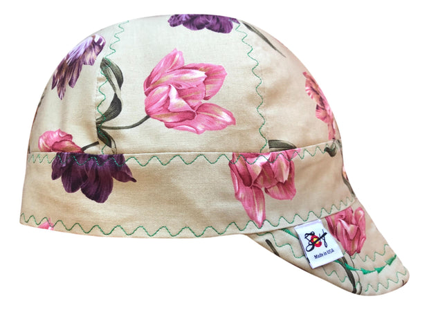 One of a Kind Flowers 100% Cotton Lined Size 7 5/8 Welders Cap