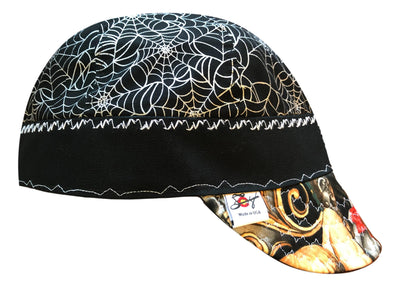 Day of the Dead Metallic Spider Web Size 7 1/2 Hybrid Welding Cap