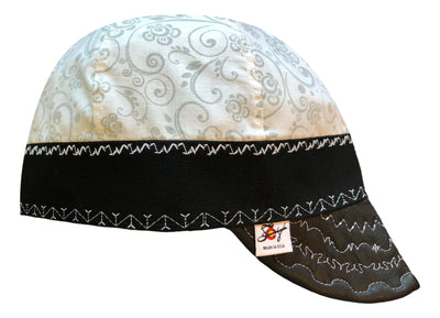 Black Leather Bill White Ghost Paisley Size 7 1/2 Hybrid Welding Cap