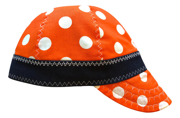 Orange Polka Dot Lined Size 7 1/2 Hybrid Welding Cap