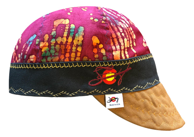 Bright Batik Print Embroidered Size 7 1/2 Hybrid Welding Cap