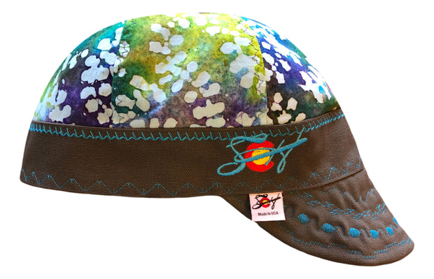 Neon Green/Blue Batik Embroidered Size 7 1/2 Logo Hybrid Welding Cap