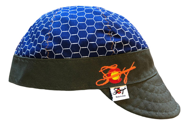 Blue HoneyComb Embroidered Size 7 1/2 Logo Hybrid Welding Cap